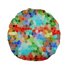 Colorful Mosaic  Standard 15  Premium Flano Round Cushions