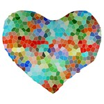 Colorful Mosaic  Large 19  Premium Flano Heart Shape Cushions Front