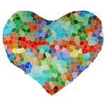 Colorful Mosaic  Large 19  Premium Flano Heart Shape Cushions Back