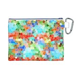 Colorful Mosaic  Canvas Cosmetic Bag (L) Back