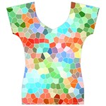 Colorful Mosaic  Women s V-Neck Cap Sleeve Top Front