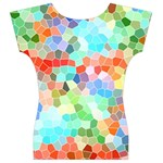 Colorful Mosaic  Women s V-Neck Cap Sleeve Top Back