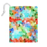 Colorful Mosaic  Drawstring Pouches (Extra Large) Back