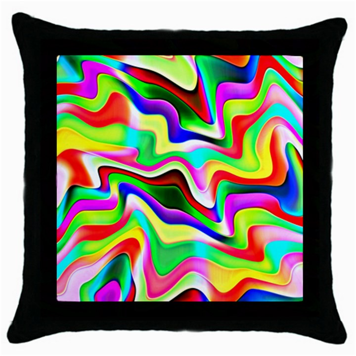 Irritation Colorful Dream Throw Pillow Case (Black)