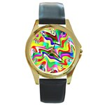 Irritation Colorful Dream Round Gold Metal Watch Front