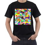 Irritation Colorful Dream Men s T-Shirt (Black) (Two Sided) Front