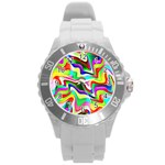 Irritation Colorful Dream Round Plastic Sport Watch (L) Front