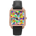 Irritation Colorful Dream Rose Gold Leather Watch  Front