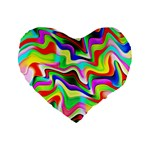 Irritation Colorful Dream Standard 16  Premium Flano Heart Shape Cushions Front