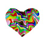 Irritation Colorful Dream Standard 16  Premium Flano Heart Shape Cushions Back
