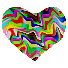 Irritation Colorful Dream Large 19  Premium Flano Heart Shape Cushions
