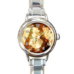 Sparkling Lights Round Italian Charm Watch Front