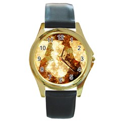 Sparkling Lights Round Gold Metal Watch