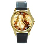 Sparkling Lights Round Gold Metal Watch Front