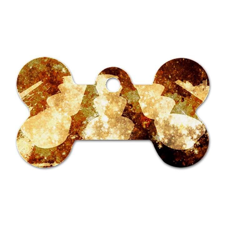 Sparkling Lights Dog Tag Bone (Two Sides)