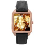 Sparkling Lights Rose Gold Leather Watch  Front