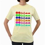 Download Upload Web Icon Internet Women s Yellow T-Shirt Front