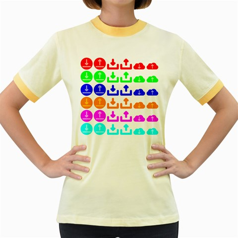 Download Upload Web Icon Internet Women s Fitted Ringer T-Shirts