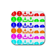 Download Upload Web Icon Internet Rubber Square Coaster (4 pack)