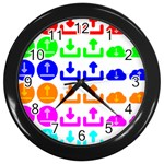 Download Upload Web Icon Internet Wall Clocks (Black) Front