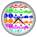 Download Upload Web Icon Internet Wall Clocks (Silver)  Front