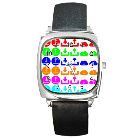 Download Upload Web Icon Internet Square Metal Watch