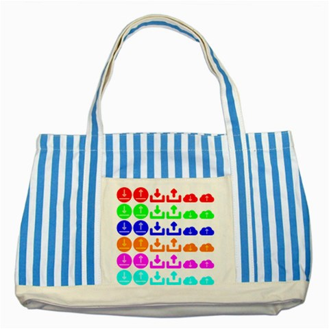 Download Upload Web Icon Internet Striped Blue Tote Bag