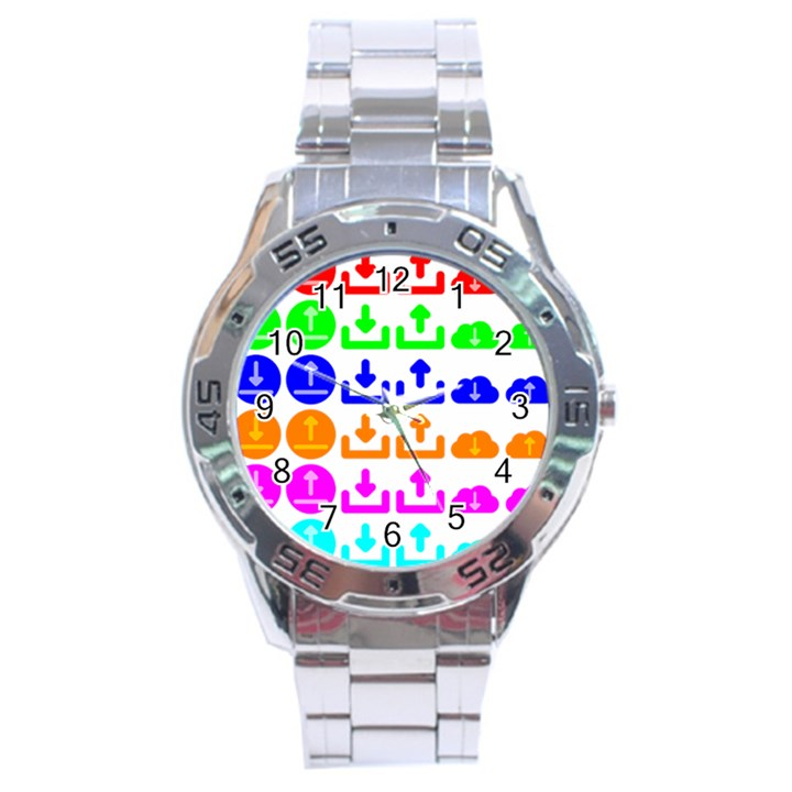 Download Upload Web Icon Internet Stainless Steel Analogue Watch