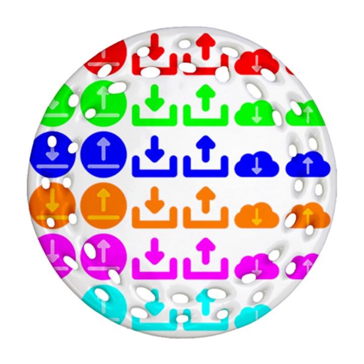 Download Upload Web Icon Internet Round Filigree Ornament (2Side)