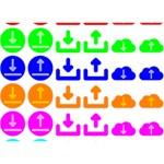 Download Upload Web Icon Internet Circle Bottom 3D Greeting Card (7x5) Back