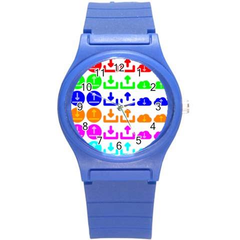 Download Upload Web Icon Internet Round Plastic Sport Watch (S)