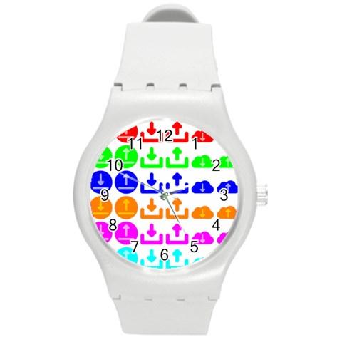 Download Upload Web Icon Internet Round Plastic Sport Watch (M)