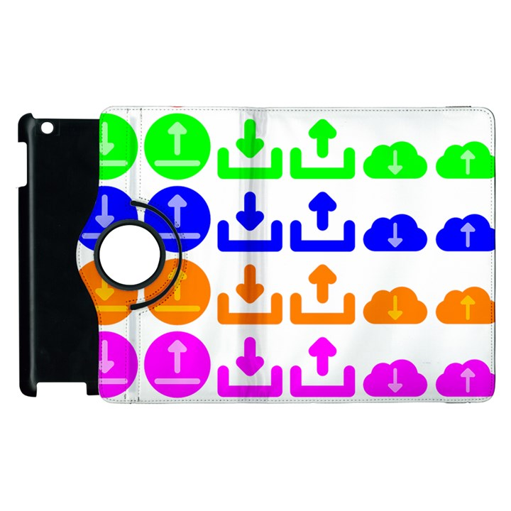 Download Upload Web Icon Internet Apple iPad 3/4 Flip 360 Case