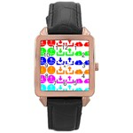 Download Upload Web Icon Internet Rose Gold Leather Watch  Front