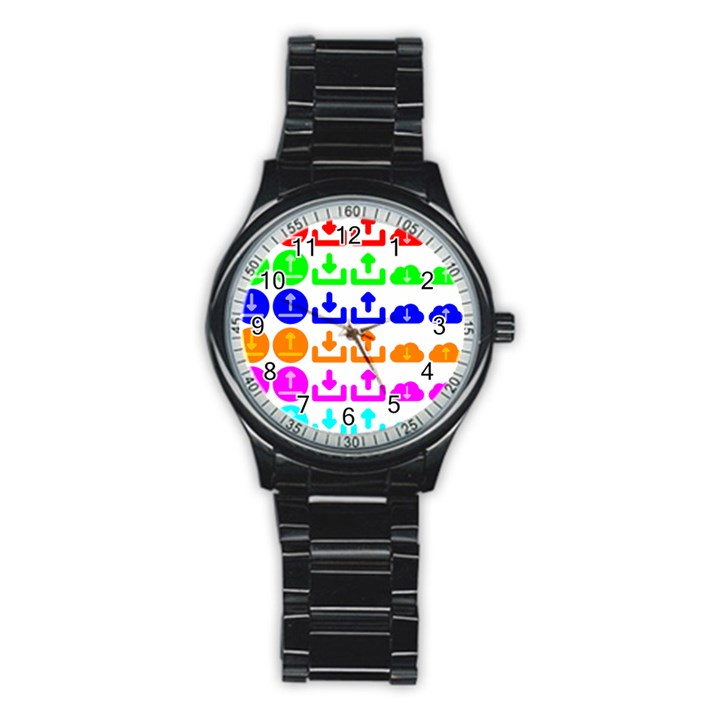 Download Upload Web Icon Internet Stainless Steel Round Watch