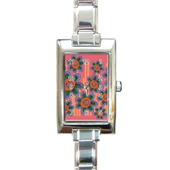 Colorful Floral Dream Rectangle Italian Charm Watch