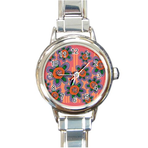 Colorful Floral Dream Round Italian Charm Watch