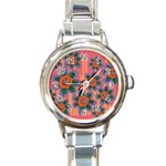 Colorful Floral Dream Round Italian Charm Watch Front