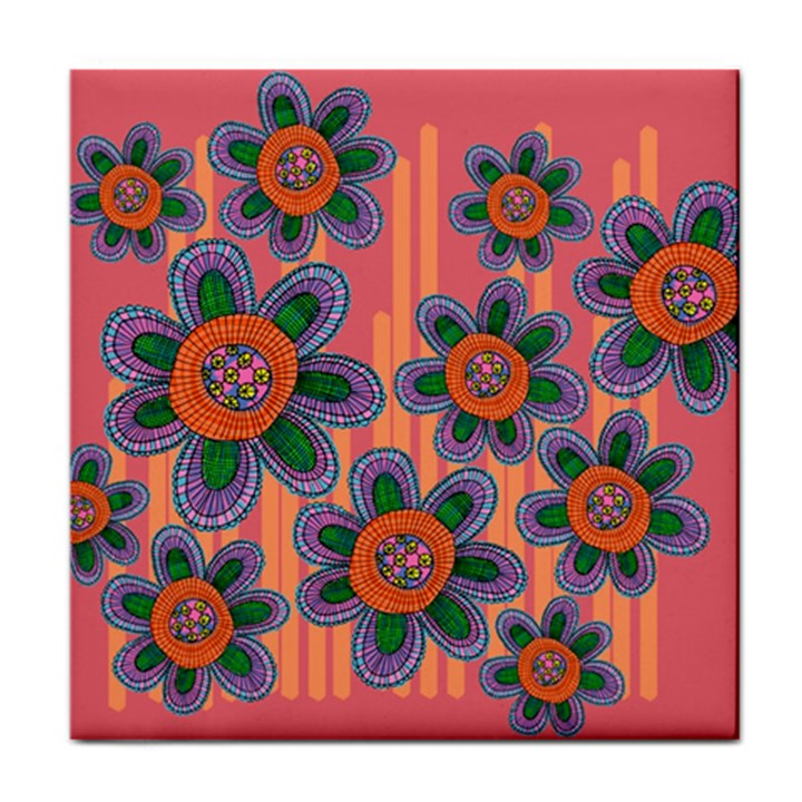 Colorful Floral Dream Tile Coasters