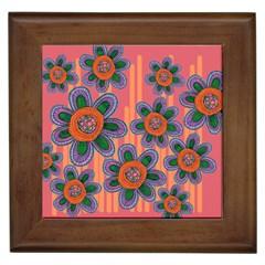 Colorful Floral Dream Framed Tiles
