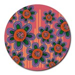 Colorful Floral Dream Round Mousepads Front