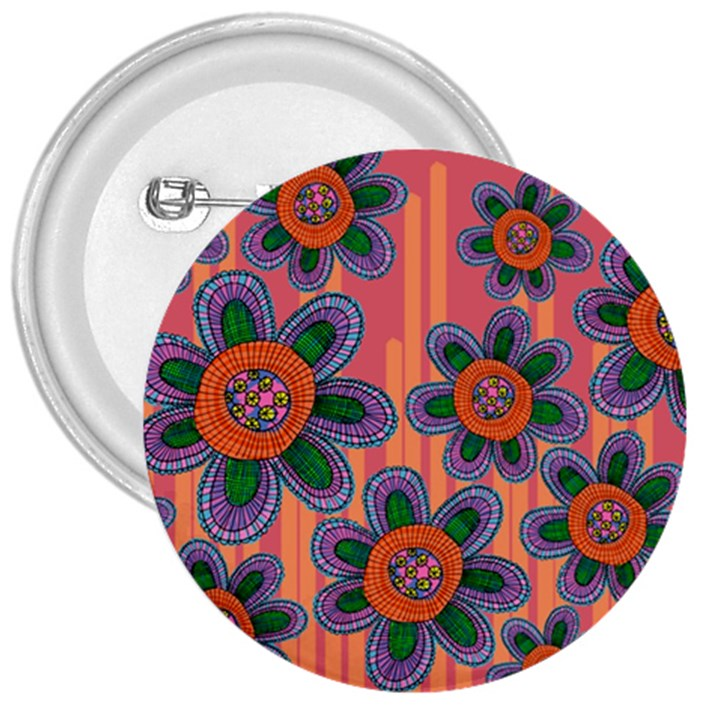 Colorful Floral Dream 3  Buttons