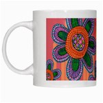Colorful Floral Dream White Mugs Left