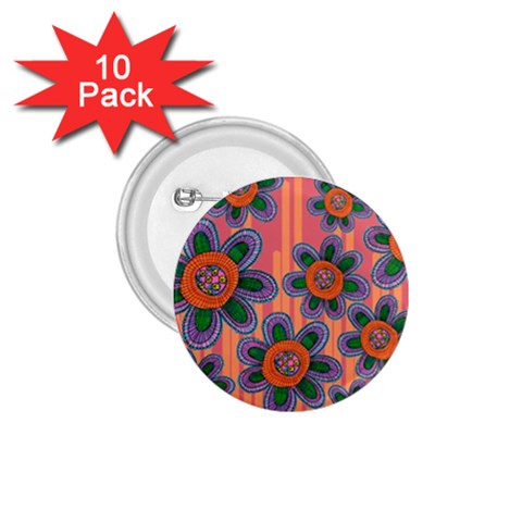 Colorful Floral Dream 1.75  Buttons (10 pack)