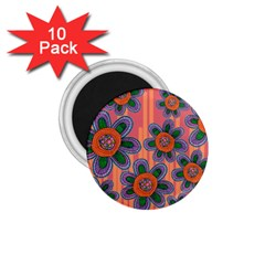 Colorful Floral Dream 1 75  Magnets (10 Pack)