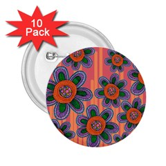 Colorful Floral Dream 2 25  Buttons (10 Pack)