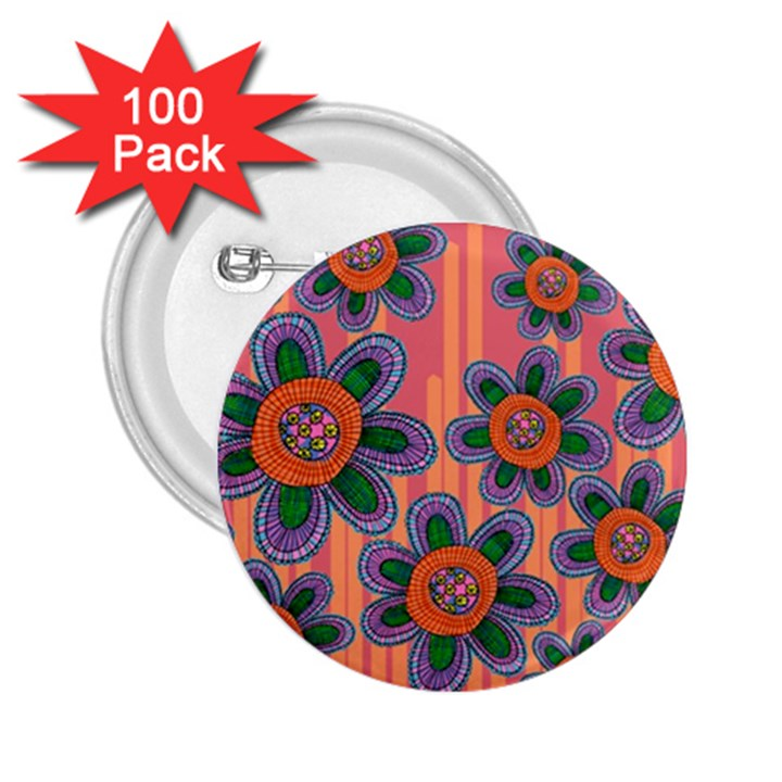 Colorful Floral Dream 2.25  Buttons (100 pack)