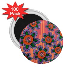 Colorful Floral Dream 2 25  Magnets (100 Pack)