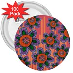 Colorful Floral Dream 3  Buttons (100 pack)  Front