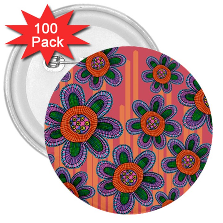 Colorful Floral Dream 3  Buttons (100 pack)